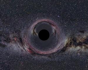Si existiera un agujero negro de la masa de 10 veces nuestro sol, la lente gravitacional que crearía sobre el cielo se vería de esta manera