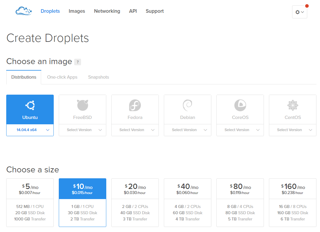 Creación de Droplet en Digital Ocean